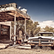 Abandoned restaraunt on route 66 in New Mexico - Stock Photo