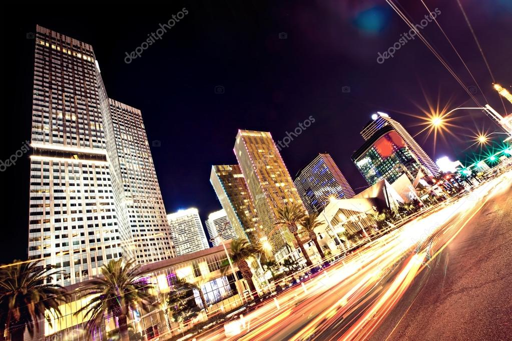 The Las Vegas Strip at night. Long exposure  Stock Photo #13863240