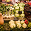 La Boqueria market with vegetables and fruits - Stock Photo