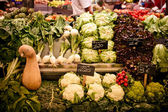 La Boqueria market with vegetables and fruits — Stock Photo