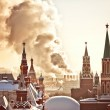 Red Square and Kremlin during winter frosty day - Stock Photo