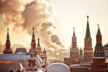 Red Square and Kremlin during winter frosty day