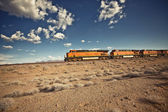 Cargo locomotive railroad in Arizona desert — Stock Photo