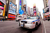Empty Times Square with NYPD car — Stock Photo