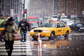 Taxi Cabs in Eight Avenue in New York City — Stock Photo