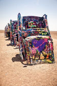 Art installation of the old Cadillac cars — Stock Photo