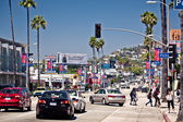 Traffic and tourists pack at Sunset Strip — Stock Photo