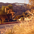 View of Hollywood sign - Stock Photo