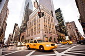 žluté taxíky v new yorku — Stock fotografie