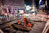 Road works at Times Square — Stock Photo