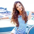 Attractive girl on a yacht at summer day — Stock Photo #23293770
