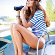 Attractive girl on a yacht at summer day — Stock Photo #23293826