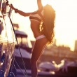 Attractive girl on a yacht at summer day — Stock Photo #23294210