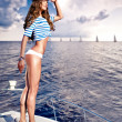 Stock Photo: Attractive girl on a yacht at summer day