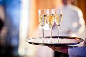Copos cheios de champanhe na bandeja — Foto Stock