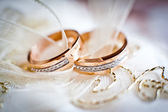 Two wedding rings — 图库照片