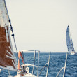 Sailing ship yachts with white sails — Stock Photo #30540981
