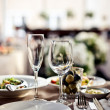 Empty glasses set in restaurant — Stock Photo #33088843