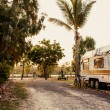 Caravan on a camping — Stock Photo