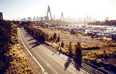Anzac Bridge and buildings in Sydney — Stock Photo