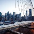 Lower Manhattan skyline from Brooklyn Bridge — ストック写真