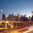 Lower Manhattan skyline from Brooklyn Bridge — Stock Photo