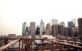 Lower Manhattan skyline from Brooklyn Bridge — Stock Photo