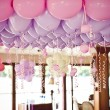 Balloons under the ceiling on the wedding party — Stock Photo