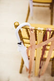 Wedding ceremony chair with umbrella — Stock Photo