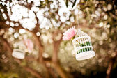 Wedding floral decoration on the tree — Stock Photo