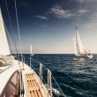 Sailing ship yachts with white sails — Stock Photo #36607381