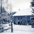 Stock Photo: Wooden house in winter forest