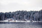 Small village in winter forest — Stock Photo