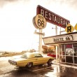 Restaurant sign along historic Route 66 — 图库照片