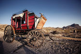 Horse drawn wagon in the Mojave desert. — Stock Photo