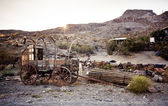 Horse drawn wagon in the Mojave desert. — Stock Photo
