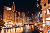 Chicago at night — Stockfoto