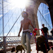 Man and dog on the Brooklyn Bridge — Stock Photo