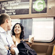Couple in in subway wagon — Stock Photo