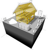 Detached house framework diagram — Stock Vector