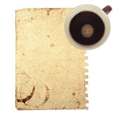 オールド メモ紙のコーヒー カップと — ストック写真