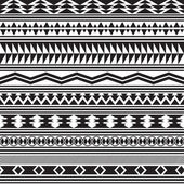 Tribal striped seamless pattern. Geometric black-white background. — Stock Vector
