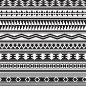 Tribal striped seamless pattern. Geometric black-white background. — Stock Vector