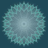 Mandala. fleur dessiné de belle main. — Vecteur