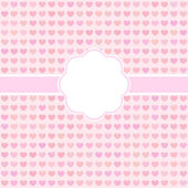 Vector pink cute card with hearts — Stock Vector