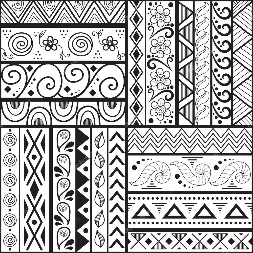 Easy Aztec Pattern Drawings Swatches of Seamless Pattern