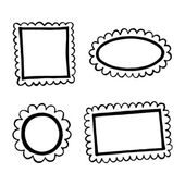 Set of hand drawn doodle frames. — Stock Vector