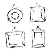 Conjunto de quadros de mão desenhada doodle. — Vetorial Stock