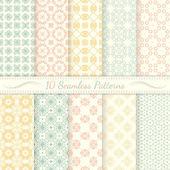 Set of ten seamless retro patterns. — Stock Vector