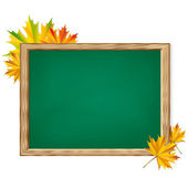 Chalkboard and autumn leaves. — Stock Vector